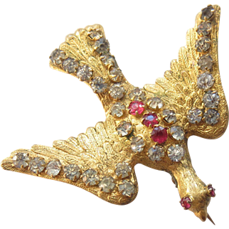 Antique French Paste 'Saint Esprit' Bird Swallow Pin or Clip
