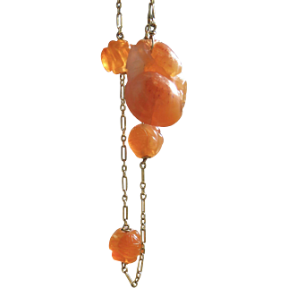 14k gold 1920s Chinese Carved Red Jade Carnelian Bracelet
