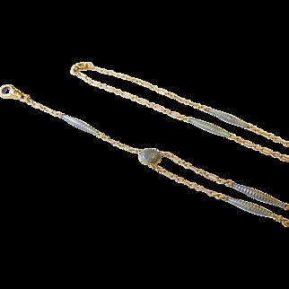 Rare Art Nouveau 14k Gold and Blue Guilloche Enamel Carter, Gough & Co Necklace, Watch or Lorgnette Chain