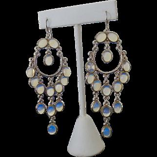 Long Dangling Sterling Chandelier Jelly Opal Art Glass Earrings