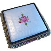 Vintage Enamel Rose Compact or Trinket Box- Reinvented with Rhinestones! ONE OF A KIND!