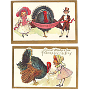 C1910 PAIR of Gorgeous Embossed Thanksgiving Postcards, Children w/Turkeys