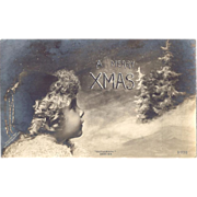 C1910 Real Photo Christmas Postcard Curly Haired Child