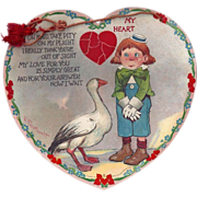 c1905 Big Heart Shaped valentines Day Card By Outcault, Raphael Tuck, Boy with Big Goose