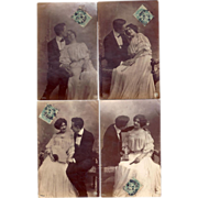1916 Lovely Set Of Real Photo Postcards Loving Couple, Great Fashion, She Holds Fan