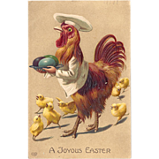1911 Fun Fantasy Easter Postcard Rooster Chef Serves Eggs!