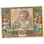 Lovely Victorian Christmas Card By Marcus Ward Baby w/Spoon & Dog, Christmas Toys