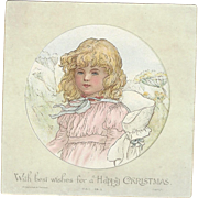 Lovely Hildesheimer & Faulkner Victorian Greeting Card, HAPPY CHRISTMAS, Sweet Little Girl