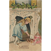 1909 Embossed German Postcard Christmas Girl With Doll, lovely!