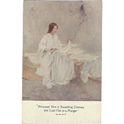 c1910 W.L. TAYLOR signed Christmas Postcard, Lovely Art Mary & Babe