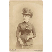 Super 185 Victorian Fashion Photograph, Sophisticated woman, Hat, Ribbons, Pin, Gloves, Purse, Umbrella