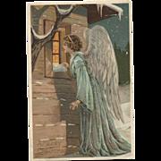 c1910 Charming  German Embossed Christmas Postcard Angel Peers Thru Window