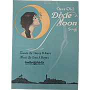 1920 Dear Old Dixie Moon Song Sheet Music Fantasy Image Of Woman Kissing Man In Moon Cover