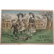 Victorian Trade Card EASY LAWN MOWER with prices Belcher Bros. Providence, RI