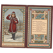 Lovely Victorian New Years card Girl In Red With Snowballs, Allingham Poem