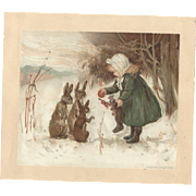 Scarce 1886 Louis Prang Victorian Trade Card Girl Gives Christmas Stocking contents to rabbits! Frederic Stuart Church artist Fleischmann Yeast