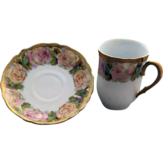 Gorgeous Antique Demi-Tasse Cup And Saucer Roses Gold Bavaria Germany