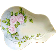 Elegant Pink Roses Porcelain Trinket Dish Artist Signed