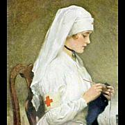 Vintage Red Cross Nurse Print Nicolet 1918 Pharmacy Calender Parma Idaho