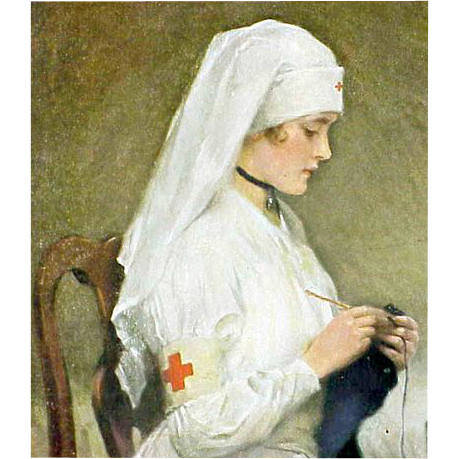 Vintage Red Cross Nurse Print Nicolet 1918 Pharmacy Calender Parma Idaho