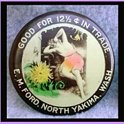 Antique Trade Token Pocket Mirror Nude Advertising Yakima WA Salt Lake City Utah