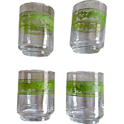 Vintage Spring Blossom Crazy Daisy Libbey Juice Glass Tumblers