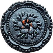 Black Glass Button Czechoslovakia Fancy Molding 1920s - 1920s