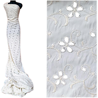 1940s Spun Rayon Sewing Fabric Eyelet Embroidery in White 6 Yards