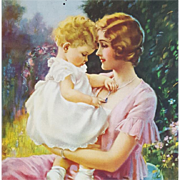 Print all In new window Mother With Baby Print Vintage Calendar Art Mabel Rollins Harris 1930