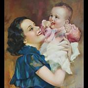 Calendar Art Print Mother and Baby Laurette Patten 1936