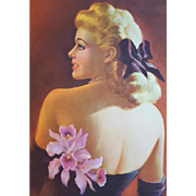 Vintage Print Glamour Pin Up Girl Blonde with Pink Orchids Art Frahm