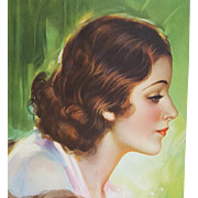 Vintage Calendar Print Gorgeous Brunette Circa 1940