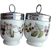 Two Porcelain Egg Coddlers Berry Pattern Royal Worcester Easter Treat