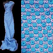 1950s Vintage Sewing Fabric Blue Lavender Purple 3-3/4 yards