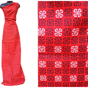1950s Cotton Sewing Fabric small Black and White Print on Red