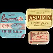 3 Vintage Drugstore Aspirin Tins Blackstone's, L. Perrigo, Laymon's