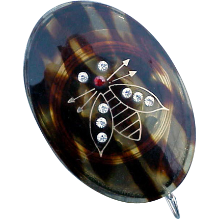 Vintage Celluloid Tortoise Tape Measure Rhinestone Bumble Bee  Germany