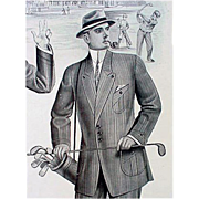 1913 Vintage Salesman's Sample Page Golf Print Catalog Edwardian Men's Clothing Downton Abbey Era