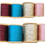 4 Vintage Silk Thread on Wooden Spools Burgundy Blue Beige Pink