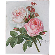Antique Cabbage Roses Chromolithograph Print Paul de Longpre Victorian