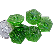 Vintage 1920s - 1930s Depression Era Green Glass Buttons Czechoslovakia