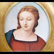 Vintage Italian Madonna Print Florentine Gilt Frame Italy