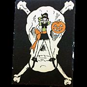 1930s Halloween Bridge Tally Skull and Cross Bones Sexy Pirate
