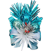 1960s Holiday Christmas Corsage Blue Aluminum Mint with Box - Red Tag Sale Item