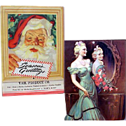 Vintage Christmas Calendar 1945 Santa Claus Purina Advertising