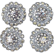 Fancy Vintage Rhinestone Buttons Smoky Gray Faceted Glass Sewing Notions