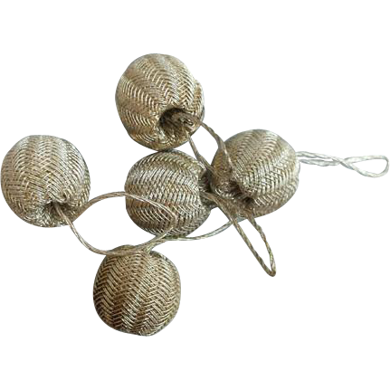 Lot of 5 Tiny Bright Silver Bullion Thread Wrapped Antique Buttons Doll Size Baubles
