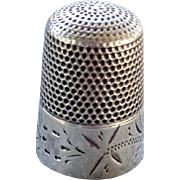 Antique Etched Sterling Silver Thimble Size 12 Waite, Thresher Co.