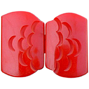 1930s Carved Red Bakelite Belt Buckle Two Part Sewing Notion