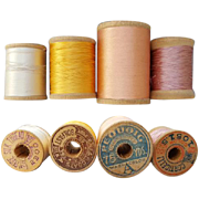 Antique Silk Thread on Wooden Spools Lot of 4 Doll Clothes Restoration
